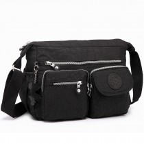E1732 - Multi Pockets Functional Cross Body Shoulder Bag Black