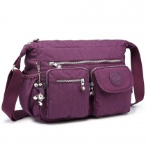 E1732 - Multi Compartment Functional Cross Body Shoulder Bag Purple