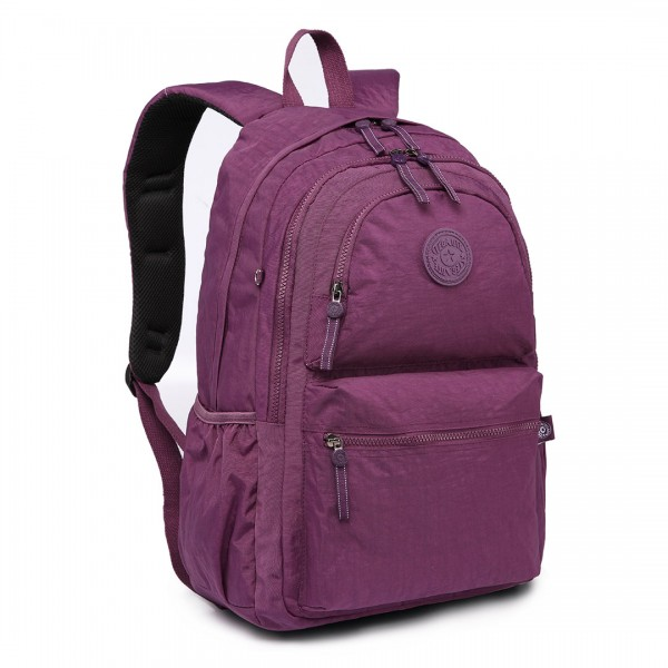 E1733 - Multi Compartment Functional Water Resistant Backpack Purple