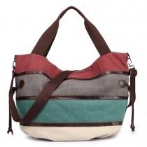 E1737 - Kono Canvas Stripe Bucket Bag Blue