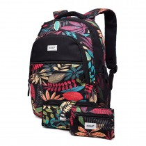 E1742 - Kono Matte Oilcloth Tropical Backpack Pencil Case and Money Pouch Set Black