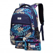 E1742 - Kono Matte Oilcloth Tropical Backpack Pencil Case and Money Pouch Set Navy
