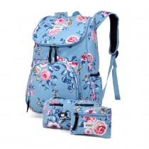 E1743-17F - Kono Matte Oilcloth Floral Backpack Pencil Case and Money Pouch Set Blue