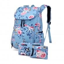 E1743-17F - Kono Matte Oilcloth Floral Backpack Pencil Case and Money Pouch Set Blue
