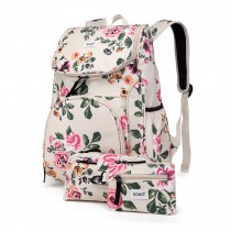 E1743-17F - Kono Matte Oilcloth Floral Backpack Pencil Case and Money Pouch Set Beige