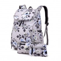 E1743-17F - Kono Matte Oilcloth Floral Backpack Pencil Case and Money Pouch Set Grey