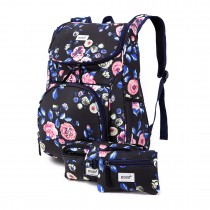 E1743-17F - Kono Matte Oilcloth Floral Backpack Pencil Case and Money Pouch Set Navy