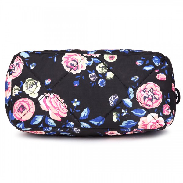 E1745-17F NY - Miss Lulu Medium Matte Oilcloth Floral Print Travel Bag - Navy