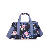E1745-17F NY - Midium Size Miss Lulu Matte Tarpaulin Fabric Travel Bag Floral Print Navy