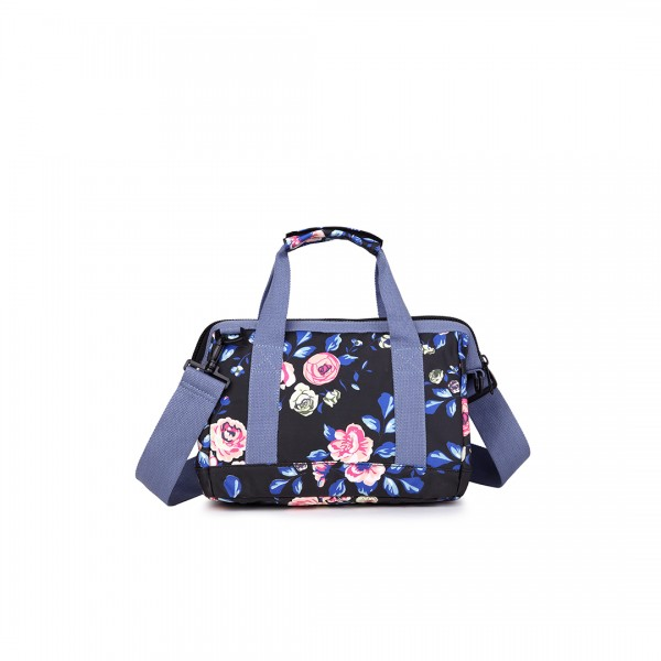 E1746-17F NY - Miss Lulu Small Matte Oilcloth Floral Print Travel Bag - Navy