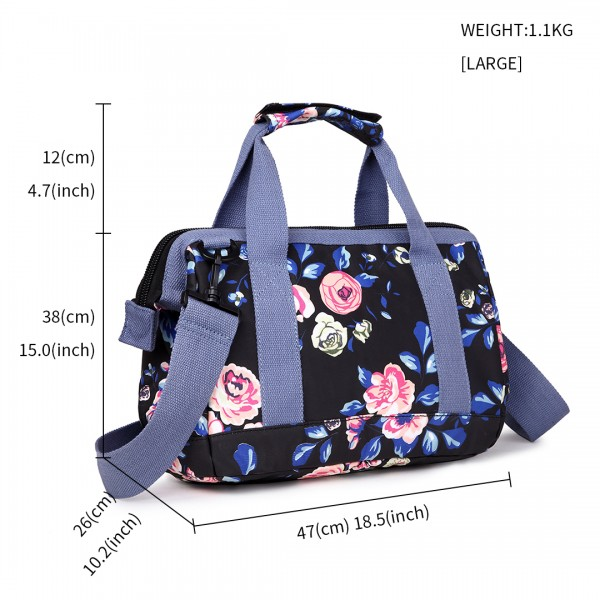 E1744-17F NY - Miss Lulu Large Matte Oilcloth Floral Print Travel Bag - Navy