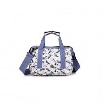 E1746-16J GY - Small Miss Lulu Matte Tarpaulin Fabric Travel Bag Bird Print Grey