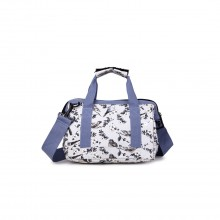 E1746-16J GY - Miss Lulu Small Matte Oilcloth Bird Print Travel Bag - Grey