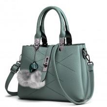 E1751 - Miss Lulu Leather Look Multi Compartment Pom Pom Shoulder Bag Blue