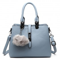E1751 - Miss Lulu Leather Look Multi Compartment Pom Pom Shoulder Bag Blue