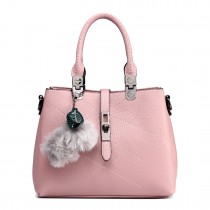 E1751 - Miss Lulu Leather Look Multi Compartment Pom Pom Shoulder Bag Beige
