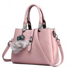 E1751 - Miss Lulu Leather Look Multi Compartment Pom Pom Shoulder Bag Beige