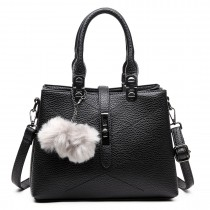 E1751 - Miss Lulu Leather Look Multi Compartment Pom Pom Shoulder Bag Black