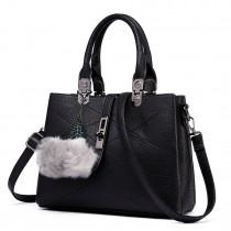 E1751 - Miss Lulu Leather Look Multi Compartment Pom Pom Shoulder Bag Black