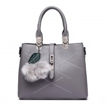 E1751 - Miss Lulu Leather Look Multi Compartment Pom Pom Shoulder Bag Grey