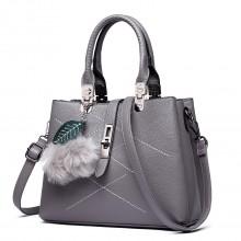 E1751 - Miss Lulu Leather Look Multi Compartment Pom Pom Shoulder Bag Grey