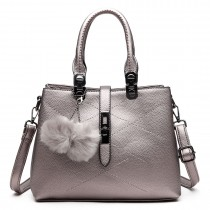 E1751 - Miss Lulu Leather Look Multi Compartment Pom Pom Shoulder Bag Silver