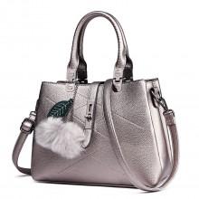 E1751 - Miss Lulu Leather Look Multi Compartment Pom Pom Shoulder Bag Silver