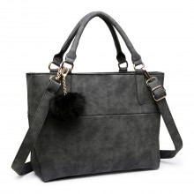 E1768 BK - Miss Lulu PomPom Suede Shoulder Bag Black