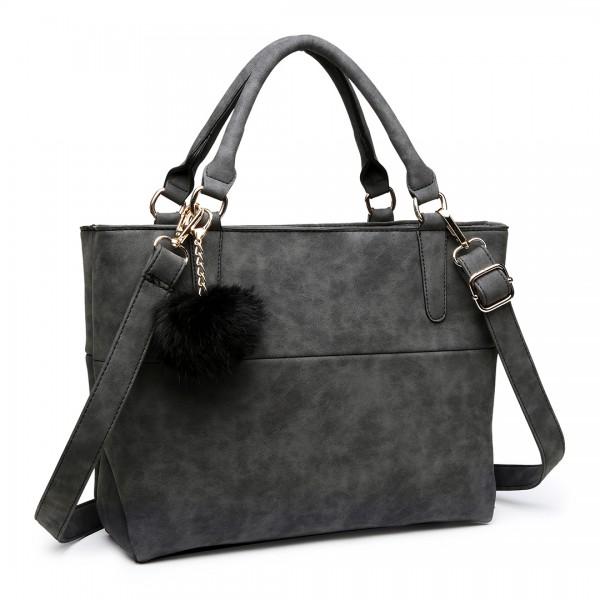 E1768 BK - Miss Lulu PomPom Suede Shoulder Bag Black