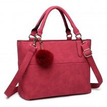 E1768 CT - Miss Lulu Structured Shoulder Bag Claret