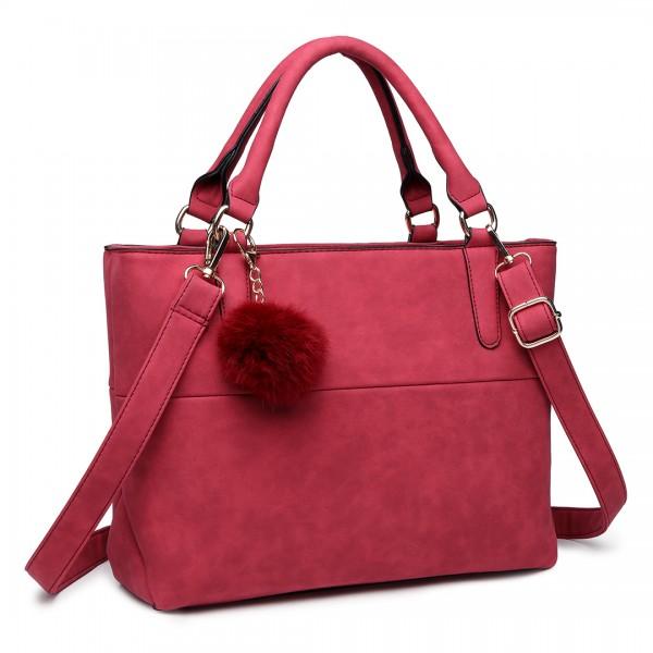 E1768 CT - Miss Lulu PomPom Suede Shoulder Bag Claret