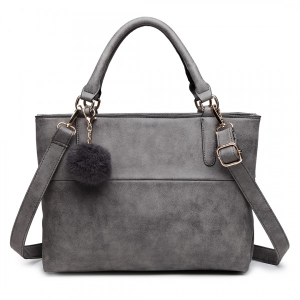 E1768 GY - Miss Lulu PomPom Suede Shoulder Bag Grey