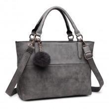 E1768 GY - Miss Lulu PomPom Suede Shoulder Bag Grey