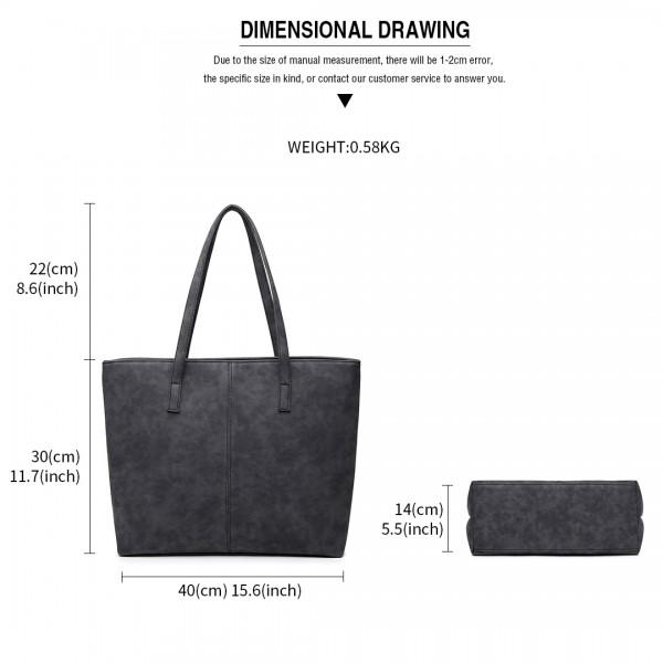 E1769 BK - Miss Lulu Fashionable PU Tote Bag Black