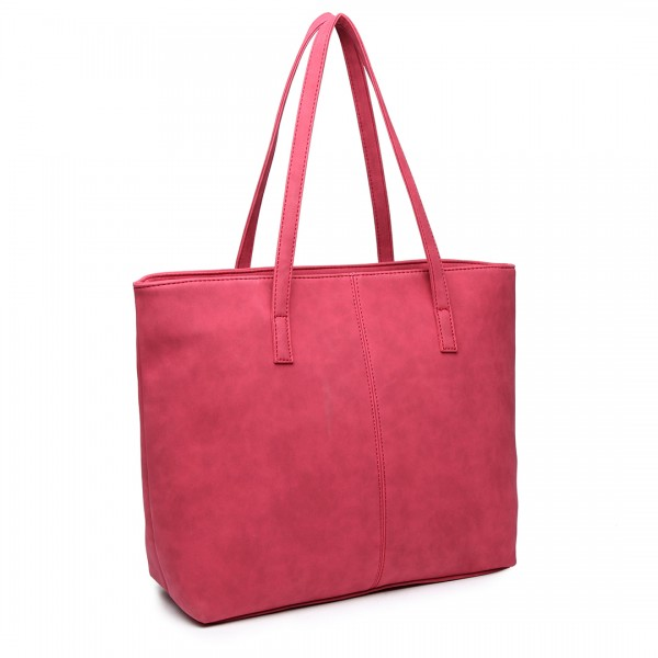 E1769 CT - Miss Lulu Fashionable PU Tote Bag Claret