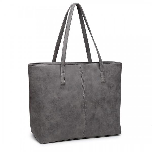 E1769 GY - Miss Lulu Fashionable PU Tote Bag Grey
