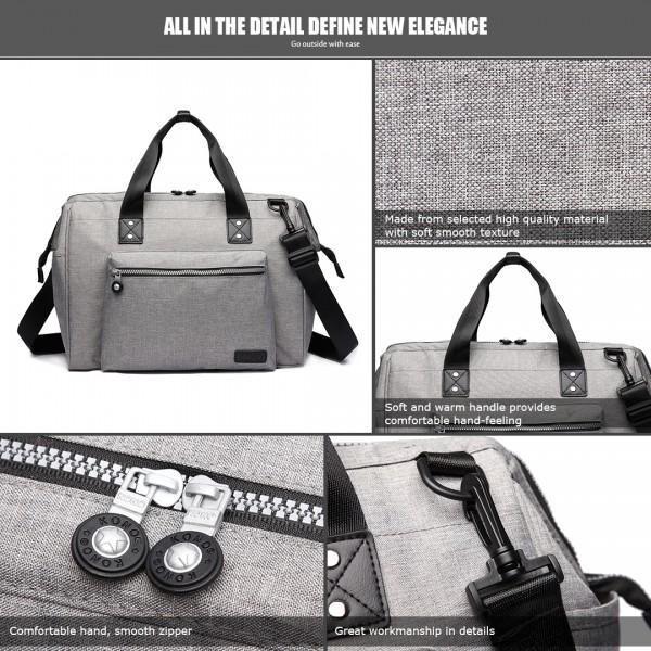 E1802-MISS LULU Maternity Baby Changing Bag Shoulder Travel Bag Grey