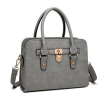 E1803 Miss Lulu Suede PadLock Tote Handbag Grey