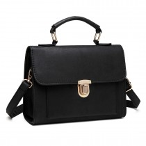 E1804 Miss Lulu Suede Locked Tote Handbag Black