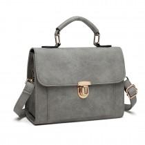 E1804 Miss Lulu Suede Locked Tote Handbag Grey