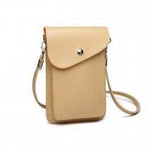 E1805- Women PU Leather Slim Mobile Cross Body Bag beige