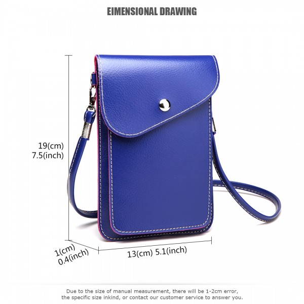 E1805- Women PU Leather Slim Mobile Cross Body Bag  navy