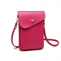E1805- Women PU Leather Slim Mobile Cross Body Bag  plum