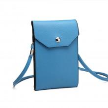 E1806-Women PU-Leder-Handy-Beutel-Kasten-Beutel-Kreuz-Körper-Geldbeutel kleines Blau