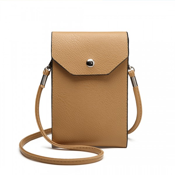 E1806- Women PU Leather Slim Mobile Cross Body Bag  beige