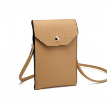 E1306- Femeile PU Leather Slim Mobile Cross Body Bag bej