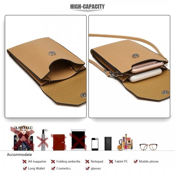 E1806- Women PU Leather Slim Mobile Cross Body Bag  beige
