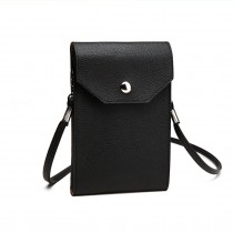 E1306- Femeile PU Leather Slim Mobile Cross Body Bag negru