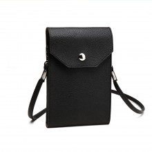 E1806- Women PU Leather Slim Mobile Cross Body Bag black
