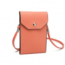 E1306- Femeile PU Leather Slim Mobile Cross Body Bag roz
